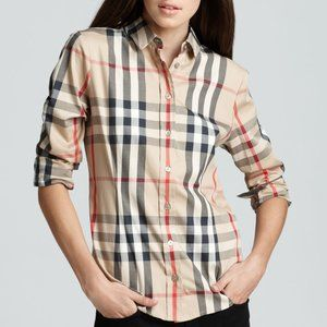 Burberry Nova Check Classic Plaid Shirt Top